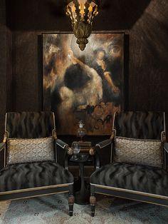 Rinaldi Lantern by Ebanista, Luzern Chair and Area Rug from Ebanista @ebanistacollect - 2015 Lake Forest Showhouse Joey Leicht | Interior Design http://www.ebanista.com/lighting/chandeliers/rinaldi-lantern-364/