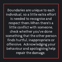 Recognising and respecting boundaries