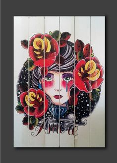 Tattoo style printed wood sign amore love by Cut4you on Etsy, $35.00