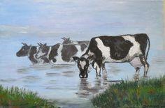Marko Sapiołko oil 60x80 ''Krowy nad rzeką ''