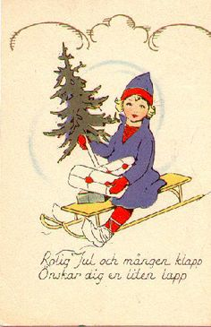 Fint julkort från 1920- eller 1930-talet. Rolig jul och mången klapp, Önskar dig en liten lapp.