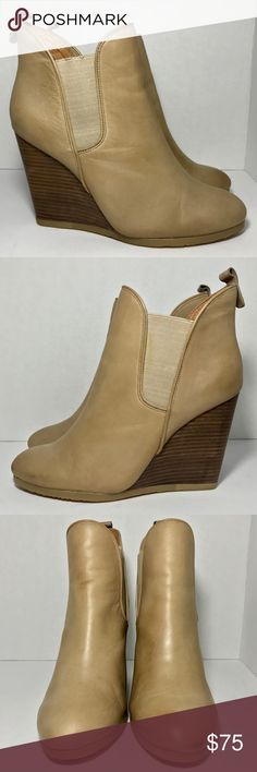 COACH Farah Leather Wedge Heel Booties Natural 8.5 COACH Farah Distressed Leather Wedge Heel Booties Natural Tan Beige Bone Sz 8.5  In great preowned condition. They show some regular signs of wear throughout. Small scuffs, discoloration, a bit of stain on the elastic part of one boot (stain is from the saddle soap used to clean the leather). No major flaws. Please see pictures carefully before purchasing.  Signature hardware subtly details the back of a stacked-wedge bootie. Approx. heel…