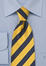 Businesskrawatte lang goldgelb dunkelblau Streifendessin günstig kaufen