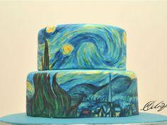 """A ilustradora Maria A. Aristidou criou o projeto """"Art on Cakes"""", no qual ela recria obras de arte de grandes pintores da história, como Van Gogh e Picasso, em incríveis bolos."""