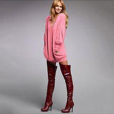 Damen-V-Neck-Lose-Jumper-Mini-Kleider-Herbst-Langarm-Lang-Tops-Pullover-Oversize