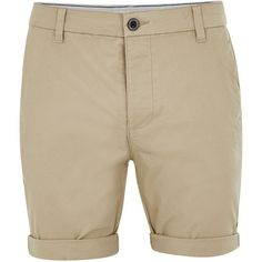 TOPMAN Stone Stretch Skinny Chino Shorts (120 MYR) via Polyvore featuring men's fashion, men's clothing, stone and topman