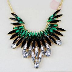 Black and Green Rhinestone Pendant Necklace from Hello Styles