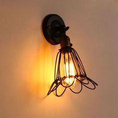 Personalized Vintage Iron Wall Lamps American Style Iron Cages Bar Wall Lights