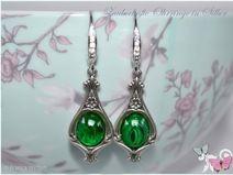Vintage Ohrhänger 925 Silber grün Glas Ohrringe