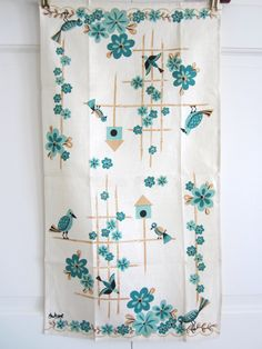 Vintage Linen Towel Aqua Birds and Bird House via Etsy.