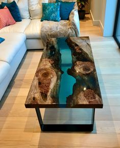 Marine Blue Resin and Elm River Table by Raven River Designs seen at Private Residence, London Diy Resin Wood Table, Epoxy Resin Table, Diy Table, Resin Furniture, Furniture Design, Cedar Table, Live Edge Table, Marine Blue, Home Decor