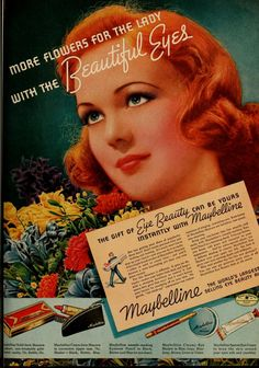 1940s Maybelline makeup ad with redhead