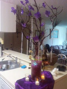 Purple Hydrangea Centerpieces | DIY centerpiece / manzanita /purple hydrangea and peacock | Weddingbee ...