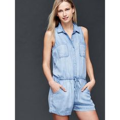 Gap Women 1969 Tencel Denim Sleeveless Romper ($60) ❤ liked on Polyvore featuring jumpsuits, rompers, light indigo, tall, tall romper, gap romper, denim rompers, playsuit romper and sleeveless romper