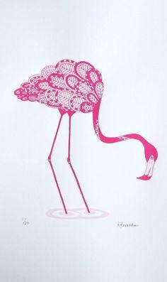 Screen print pink flamingo print 30 x Limited edition screenprint Flamingo Art, Pink Flamingos, Pink Bird, Create And Craft, Silk Screen Printing, Bird Art, Poster, Etsy, Illustration Art