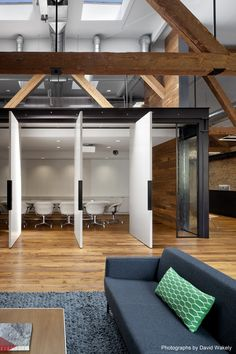 Tolleson Offices / Huntsman Architectural Group  LIKE: Tall ceilings. Wood. Lower ceiling for conference room. Door option to open to larger space. Could this work for our multipurpose area?