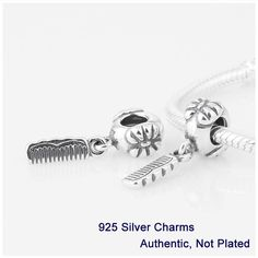 Beads DIY Fits For European Pandora Bracelets & Necklace 100% Genuine 925 Sterling Silver Lovely Locks Comb Dangle Charms L225
