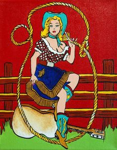 Cowgirl original art painting by Shawna June Lee  On a bright red field, this little gingham-donning blondie is throwing a lasso out for YOU!  $125 luckystargallery.com