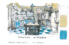 This is an art department sketch of Phryne's kitchen, where many scenes of the series have been filmed. #MissFisher #PhryneFisher #sketch #drawing #behindthescenes