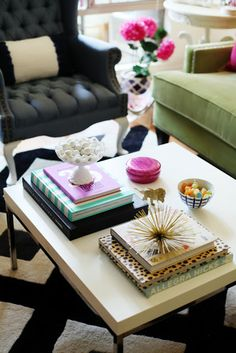 coffee table styling. you can change the color and style if you want but keep the proportions about the same, and voila!!