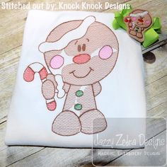 Gingerbread Boy 92 Sketch Embroidery Design by JazzyZebraDesigns