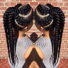 Goddess braids ponytail for black women hairstyles # braided hairstyles f Black Girl Braids, Braids For Black Hair, Girls Braids, Braids For Black Women Cornrows, Single Braids Hairstyles, Girl Hairstyles, American Hairstyles, Black Hairstyles, Goddess Hairstyles