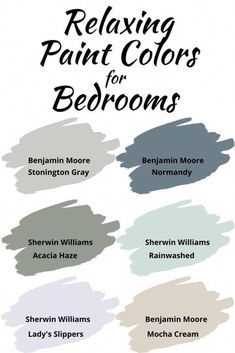 Relaxing Bedroom Paint Colors Need a relaxing paint co.- Relaxing Bedroom Paint Colors Need a relaxing paint color for your bedroom? Check out these 6 beautiful paint colors perfect for a creating a calming bedroom atmosphere Soothing Paint Colors, Paint Colors For Home, Calming Bedroom Colors, Home Interior Colors, Dinning Room Paint Colors, Bedroom Color Schemes, Small Bedroom Paint Colors, Magnolia Paint Colors, Basement Wall Colors