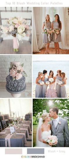 blush pink combines well with many other colors. The top 10 blush wedding color palettes to help you create a perfect wedding day to never forget! Wedding Motif Color, Blush And Grey Wedding, Blush Wedding Colors, Wedding Motifs, Winter Wedding Colors, Wedding Color Schemes, Blush Wedding Palette, Wedding Flowers, Wedding Ceremony Ideas