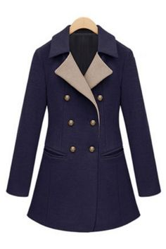 Notched Collar Double-breasted Coat OASAP.com 55.92