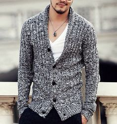Casual Slim Fit Cardigan For Men
