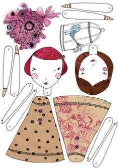Love these!! paper dolls pdf printable - download cut out and make yourself from Sweet William illustrations http://www.pinterest.com/guanamomma/paperdolls/ felt.co.nz