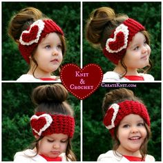 FREE - 2 Valentine's Head Warmer Patterns…In Knit & Crochet! Get your Free Patterns by clicking on the photo!You will love this Crochet Heart Ear Warmer Pattern and we have a knitted heart .cute knit and crochet heart headband, Valentine's day kn Crochet For Kids, Free Crochet, Knit Crochet, Dishcloth Crochet, Crochet Chain, Crochet Humor, Crochet Mandala, Crochet Afghans, Crochet Blankets