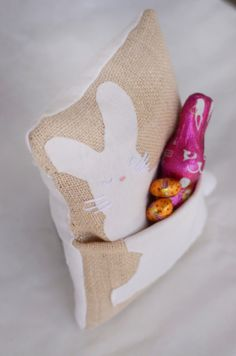 Easter Bunny Pocket Pillows - Free Sewing Tutorial by WillowDay