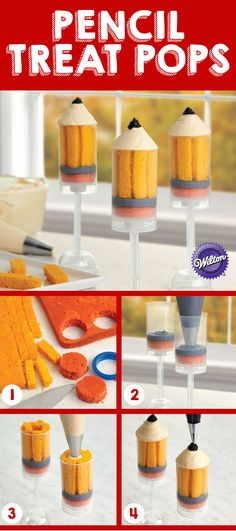 These pencil treat pops will make going back to class a whole lot sweeter! Push Cake, Cake Push Pops, Cake Pops, Yummy Treats, Sweet Treats, Teacher Cakes, School Treats, Cute Cakes, Cute Food