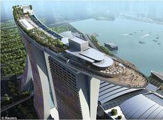 destinations  bv000052 Hôtel insolite : Le Marina Bay Sands, à Singapour.