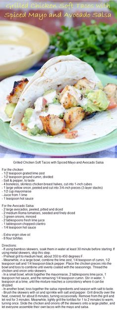 Grilled Chicken Soft Tacos with Spiced Mayo and Avocado Salsa