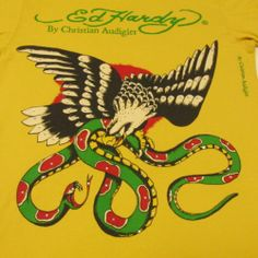 ED HARDY Men M Graphic T SHIRT Short Eagle Snake short Sleeve Rhinestones