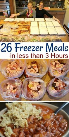 Making 26 Freezer Meals in 3 Hours - One Hundred Dollars a Month I picked up my 40 pound box of Zaycon chicken the other day and quickly decided that since my only options for running water at our house wa Freezer Friendly Meals, Budget Freezer Meals, Slow Cooker Freezer Meals, Crock Pot Freezer, Freezer Cooking, Crock Pot Dump Meals, Pioneer Woman Freezer Meals, Cooking Time, Chicken Freezer Meals