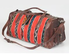 Brown Leather Duffel Bag kilim