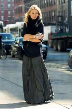 YES!! Love this long sweater with long skirt, it gives the low waistline effect- LOVE