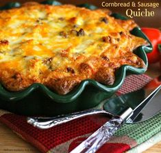Cornbread and Sausage Quiche -- Part of The Best Southern Comfort Food Recipes Breakfast Items, Sausage Breakfast, Breakfast Dishes, Breakfast Recipes, Breakfast Casserole, Breakfast Quiche, Second Breakfast, Quiche Recipes, Brunch Recipes