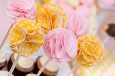 DIY fabric cupcake flowers