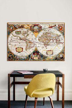 """Antique Double Hemisphere Map of the World, 1630"" by Henricus Hondius Canvas Print on HauteLook"