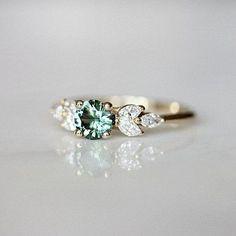 Teal Sapphire Engagement Ring | Leaf Engagement Ring | Montana Sapphire | Nature Inspired Wedding Ring | Diamond Alternative [The EVA Ring] #Engagement #Inspired #Montana #Nature #sapphire