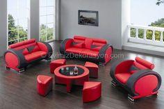 kırmızı siyah salon mobilya modelleri