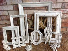 Empty Gallery Frames Wedding White Shabby Chic by FeFiFoFun, $128.00