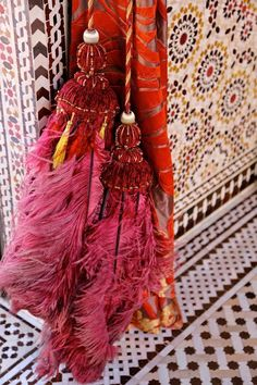 moroccan tassels with pink feathers @  Royal Mansour, Marrakech