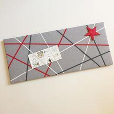 Kundenwunsch: Memoboard 30x70cm in grau/rot...  #norabellahome #memoboard #pinnwand #handmade #handgemacht