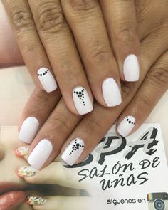 Uñas White Nails, Manicure, Nail Designs, Spa, Dots, Nail Art, Makeup, How To Make, Beautiful