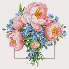 Peonies bouquet (Free Chart):